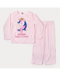 Pijama de Inverno Menina em Moletinho Blusa Rosa Unicórnio e Calça