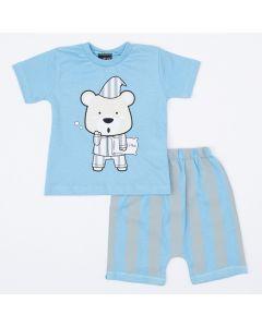 Pijama de Verão Bebê Menino Blusa Azul Urso e Short Listrado
