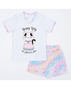 Pijama Infantil Feminino de Verão Tie Dye Blusa Gatinho e Short