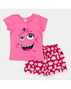 Pijama de Verão Infantil Feminino Rosa com Estampa de Monstrinho