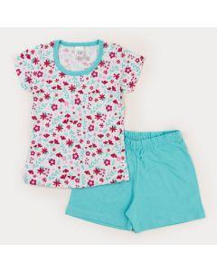 Pijama de Verão Infantil Feminino Blusa Branca Floral e Short Verde