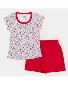 Pijama Curto Infantil Feminino Blusa Branca Gatinho e Short Vermelho
