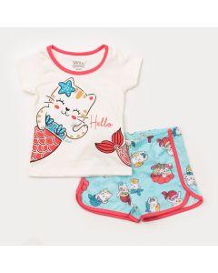 Pijama de Verão para Bebê Menina Blusa Marfim Gatinho e Short Azul Estampado