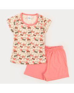 Pijama Curto para Menina Blusa Marfim Hamster e Short Salmão