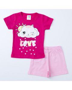 Pijama de Verão para Menino Blusa Pink Gatinho e short Rosa