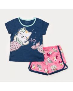 Pijama de Verão para Menina Blusa Marinho Gatinho e Short Rosa Estampado
