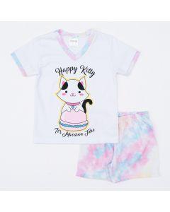 Pijama de Verão Tie Dye para Menina Blusa Gatinho e Short