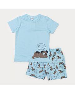 Pijama de Verão Infantil Masculino Azul com Estampa de Cachorrinho