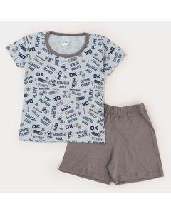 Pijama de Verão Infantil Masculino Blusa Azul Game Bermuda Cinza