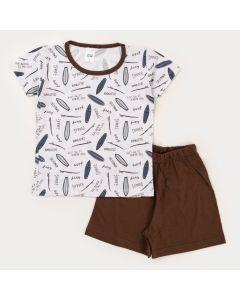 Pijama de Verão Infantil para Menino Blusa Branca Surf e Bermuda Marrom