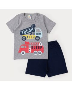 Pijama de Verão Menino Blusa Cinza Caminhão e Bermuda Marinho