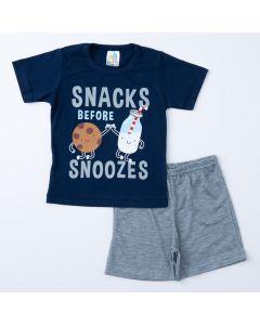 Pijama de Verão para Menino Blusa Marinho Estampada e Short Cinza