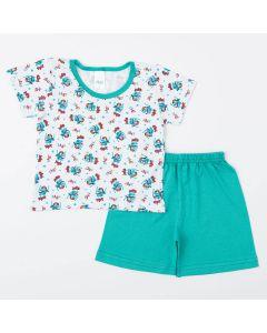 Pijama Verde de Verão para Menino Blusa Monstrinho e Short