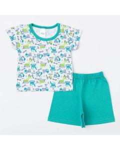 Pijama de Verão para Bebê Menino Blusa Trator e Short Verde