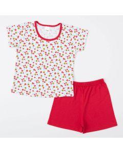 Pijama Infantil Feminino Vermelho Blusa Abelhinha e Short Básico