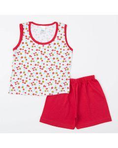 Pijama Vermelho para Menina Blusa Abelhinha e Short Básico
