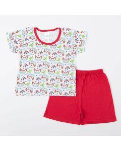Pijama Infantil Masculino Blusa Game e Short Vermelho