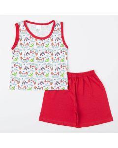 Pijama de Verão Menino Blusa Game e Short Vermelho
