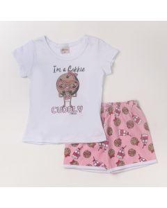 Pijama Infantil Feminino Blusa Branca Cookie e Short Rosa Claro Estampado