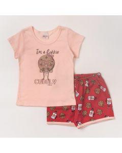 Pijama Infantil Feminino Blusa Rosa Cookie e Short Vermelho Estampado