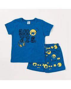 Pijama Infantil Masculino com Camiseta Azul e Bermuda Estampada