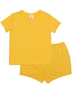 Pijama Infantil Estampado Poá em Meia Malha Amarela