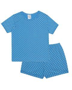 Pijama Infantil Estampado Poá em Meia Malha Azul