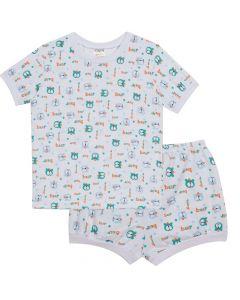 Pijama Infantil Estampado Bear em Meia Malha Branco