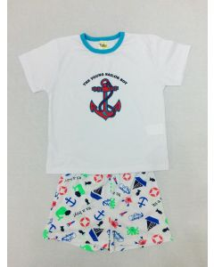 Pijama Infantil Sailor em Meia Malha Branca