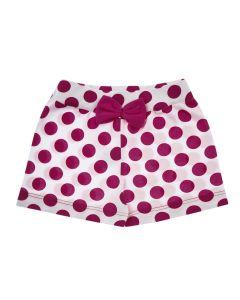 Shorts Bebê em Poá Branco e Rosa