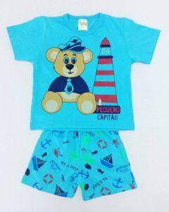 Pijama Infantil Ursinhos em Meia Malha Azul