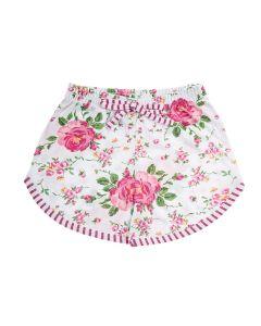 Shorts Infantil em Meia Malha Estampado Branco
