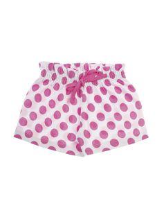 Shorts Infantil Fru-Fru em Poá Rosa e Branco