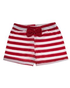 Shorts Infantil Soltinho Listrado em Vermelho e Branco