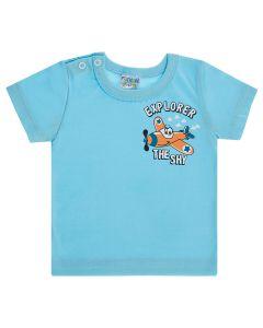 Camiseta Bebê com Botão no Ombro Explorer em Meia Malha Azul