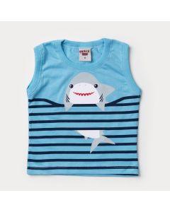 Regata Azul para Bebê Menino Tubarão