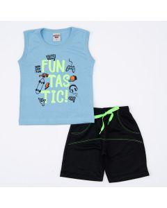 Conjunto de Verão para Menino Regata Azul Estampada e Short Preto