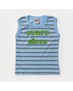 Regata Infantil Menino Surf Azul com Listras Cinza