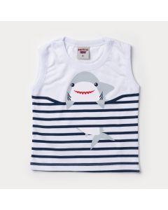 Regata Branca para Bebê Menino Tubarão