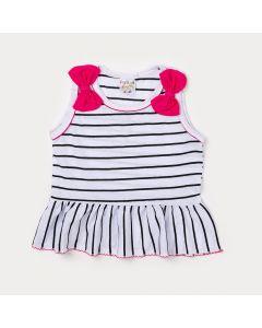 Regata Infantil Feminina Branca com Listras Pretas e Lacinhos Pink