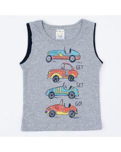 Regata Cinza para Menino com Estampa de Carros