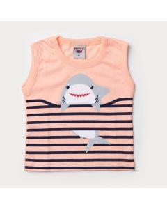 Regata Salmão para Bebê Menino Tubarão