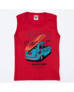 Regata Infantil Masculina Vermelha Carro