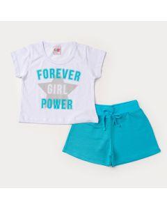 Conjunto Curto para Menina Blusa Cropped Branca Estampada e Short Azul em Moletinho
