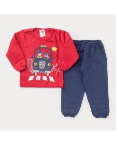 Conjunto de Moletom para Bebê Menino Casaco Vermelho Carro e Calça Marinho