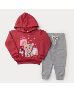 Conjunto de Inverno para Menina Casaco Pink com Capuz Cachorrinho e Calça Cinza