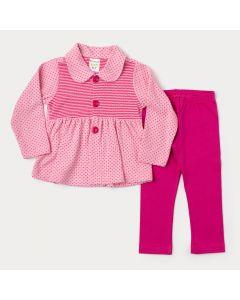 Conjunto de Inverno Infantil Menina Casaco com Gola Rosa Estampado e Legging Pink