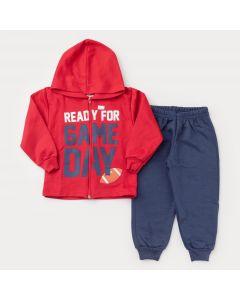 Conjunto de Frio para Menino Jaqueta Vermelha Estampada com Capuz e Calça Marinho