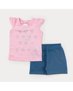 Conjunto de Verão com Blusa Rosa de Strass e Short Azul para Menina