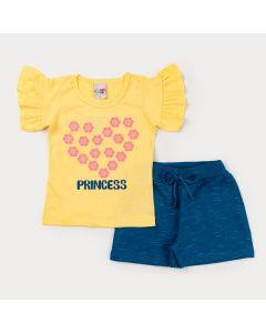 Conjunto de Verão para Menina Blusa Amarela estampada e Short em Moletinho Azul